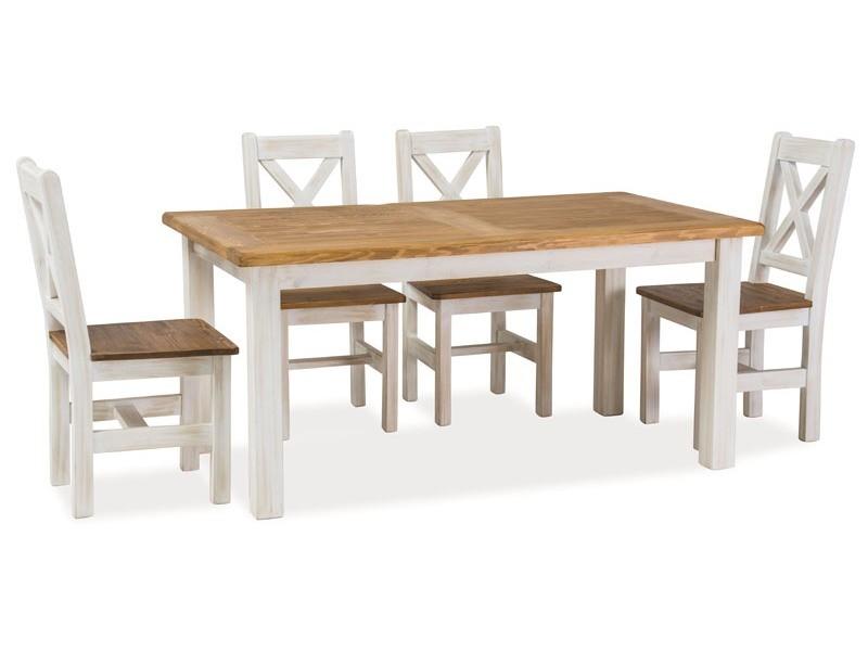 385be19bd513f stôl POPRAD + stoličky POPRAD (1+4/1+6), farba hnedá medová/borovica patina