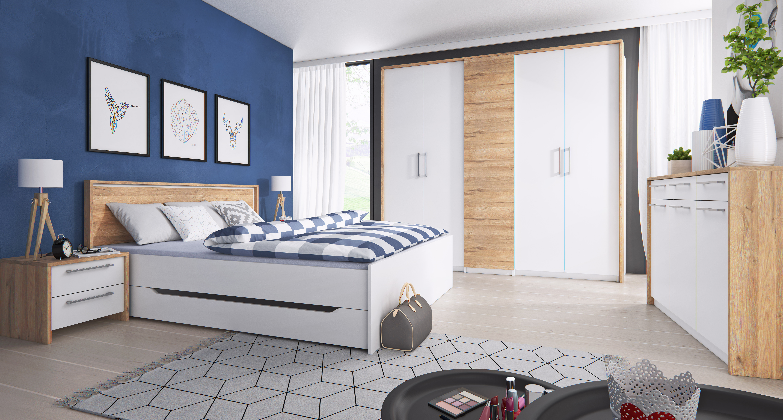 5900aa2202013 FELICITA komplet - skriňa 5.dverová, posteľ, 2xnočný stolík, biela/dub  Grandson