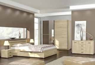 LIFE spálňová zostava - skriňa, posteľ s úl.priestorom, nočné stolíky, komoda
